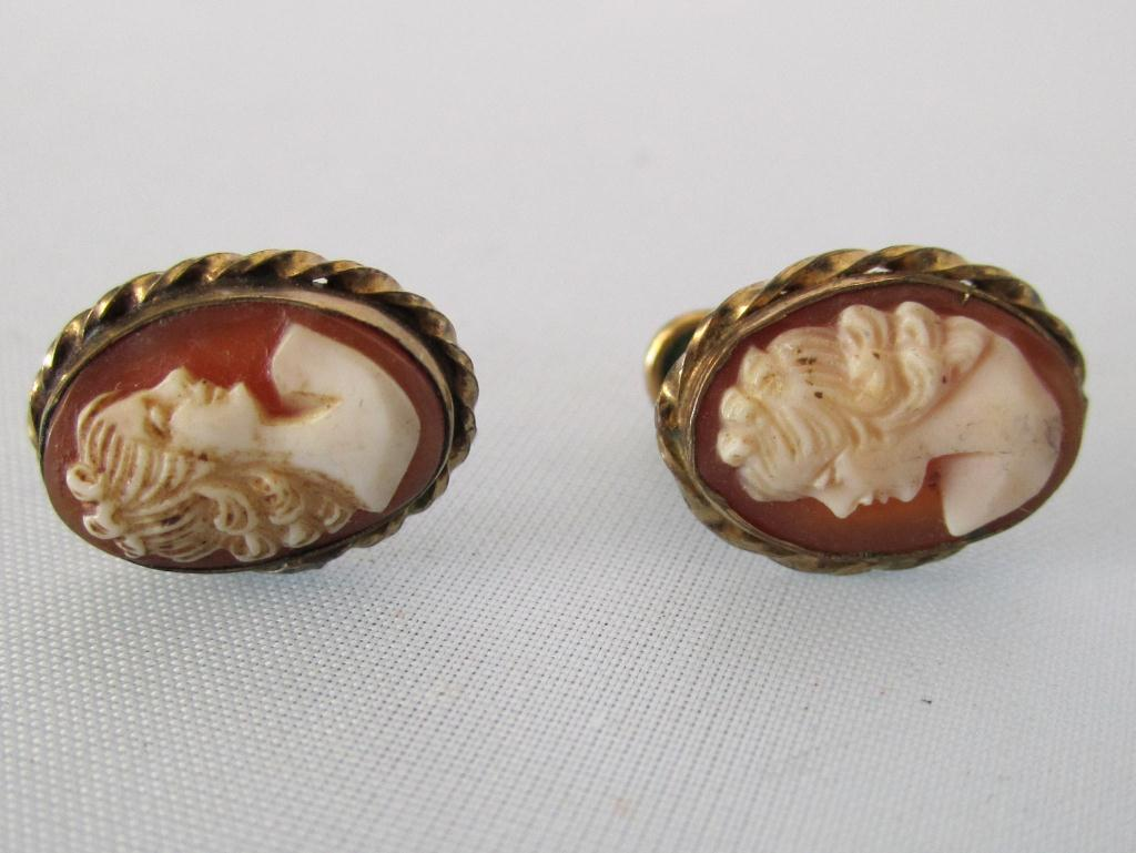Antique 12k Gold Filled Cameo Earrings Loading Zoom