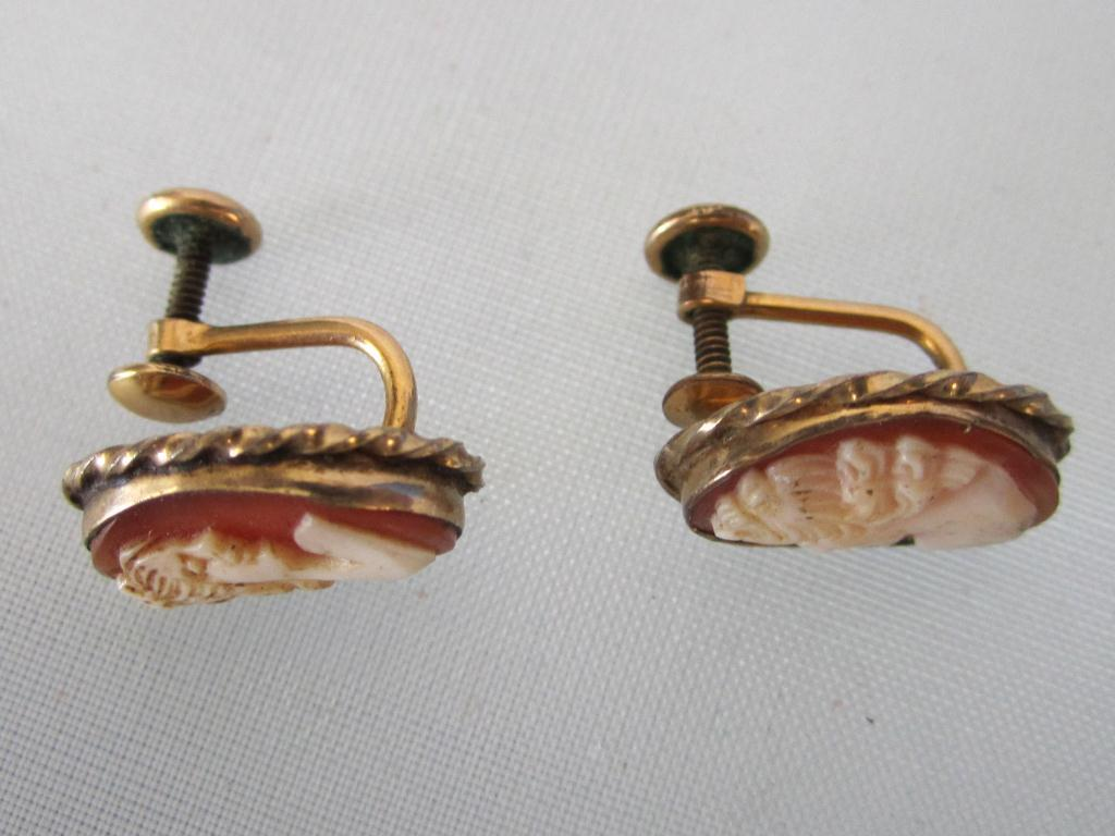 Image 2 Antique 12k Gold Filled Cameo Earrings