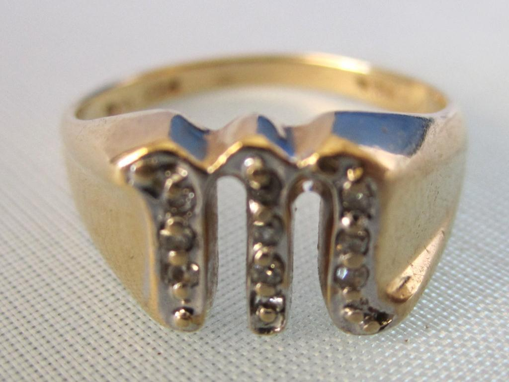 14k Gold Ring W Diamonds Letter M Loading Zoom