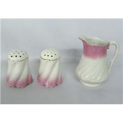 Antique Cream Pitcher and Salt and Pepper Shakers