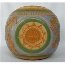 Navajo 4 Corners Etched Pottery Signed