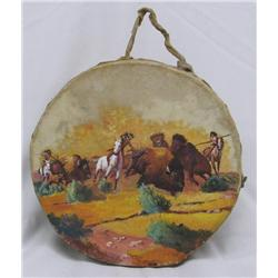 1950s Hand Painted Indian Drum By Vic Alo