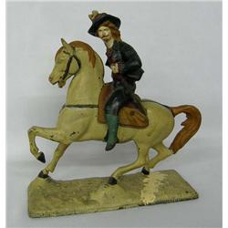 Antique Metal Horse And Rider Statue