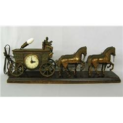 Vintage Metal Horses And Wagon Clock Light