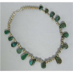 Navajo Silver And Turquoise Tab Necklace