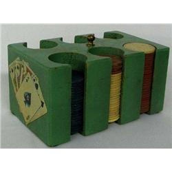 Vintage Paper Embossed Poker Chips and Carrier