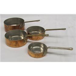 Copper Miniature Pans Measuring Cups