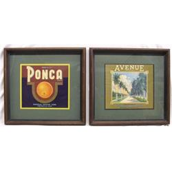 2 1930s Framed Citrus Crate Label
