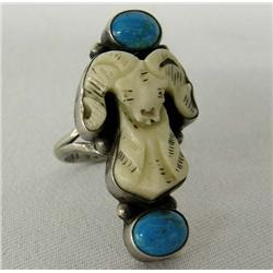 Navajo Silver Turquoise Ram's Head Ring