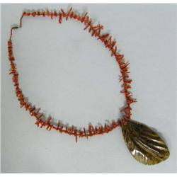 Coral Necklace With Carved Shell Pendant