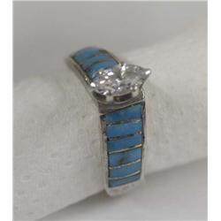Zuni Silver Inlay Turquoise and CZ Ring
