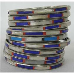 Eleven Inlayed Bangle Bracelets