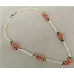 Freshwater Pearl Pink Coral and Jade Necklace