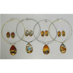 Four Signed Enamel Chokers and Matching Earrings