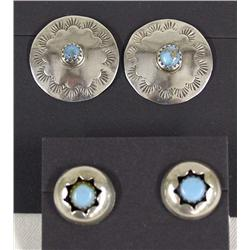 Two Pairs Silver and Turquoise Earrings