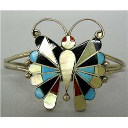 Zuni Silver Inlay Butterfly Bracelet Marked RT