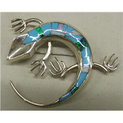 Navajo Silver Turquoise Opal Lizard Pin Pendant