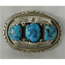 Navajo Sterling Turquoise Buckle Hallmarked RB