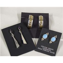 Three Pairs Silver and Turquoise Earrings