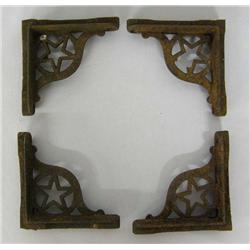 4 Antique Cast Iron Star Table Brackets
