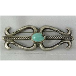 Sandcast Silver Turquoise Pin Hallmarked