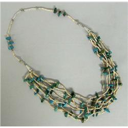 Turquoise Heishi Bead Necklace by Kills Thunder