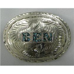 Navajo Nickel Silver Belt Buckle Turquoise BEN