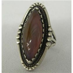 Navajo Silver and Agate Ring by P. Sunbird