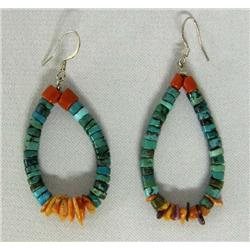 Santo Domingo Turquoise Coral Shell Earrings