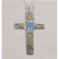 Navajo Silver Turquoise Cross Necklace Hallmarked