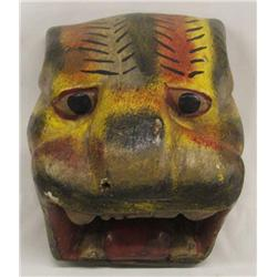 Mexican Carved Wood Cat Mask