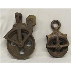 Two Vintage Metal Pulleys