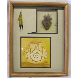 Original Native American Art In Shadow Box