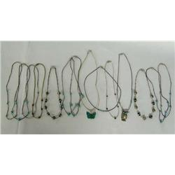 Collection of 14 Silver Turquoise & Bead Chokers