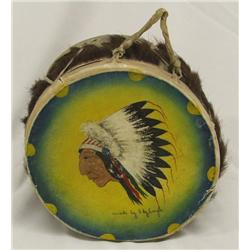 1937 Hand Painted Drum By Sky Eagle