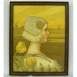 Vintage Silkscreen print of Queen Wilhelmina