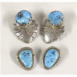 2 Pr Navajo Silver Turquoise Clip On Earrings