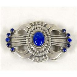 Navajo Sterling Lapis Buckle By Buffalo Dancer