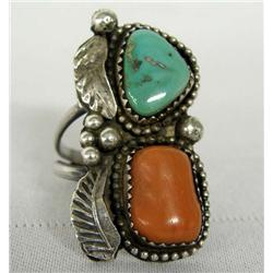 1970s Navajo Sterling Turquoise Coral Ring Size 7