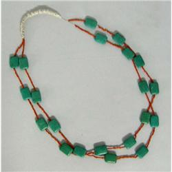 Navajo Turquoise Coral 2 Strand Necklace