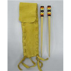 Apache Beaded Hair sticks w/Leather Pouch