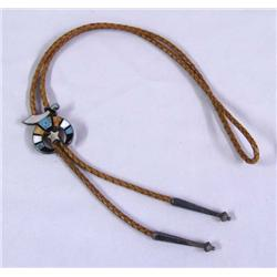Turquoise MOP Jet Shriner's Bolo Tie