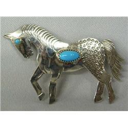 Navajo Silver Turquoise Pin Hallmarked FY
