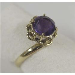 14Kt Gold Amethyst Ring Size 8 3/4