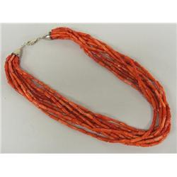 Navajo 10 Strand Coral Necklace