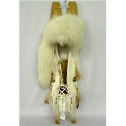 Navajo Cradleboard w/White Fox Fur by C. Bitsui