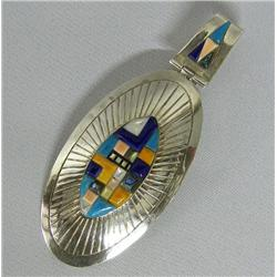 Navajo Made Multi-Stone Sterling Silver Pendant