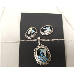 Zuni Silver Inlay Pendant and Earrings