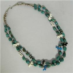 2 Strand Navajo Turquoise Heishi Necklace