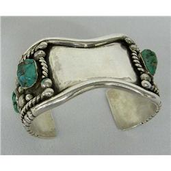 Navajo Silver Turquoise Watch Bracelet by CS